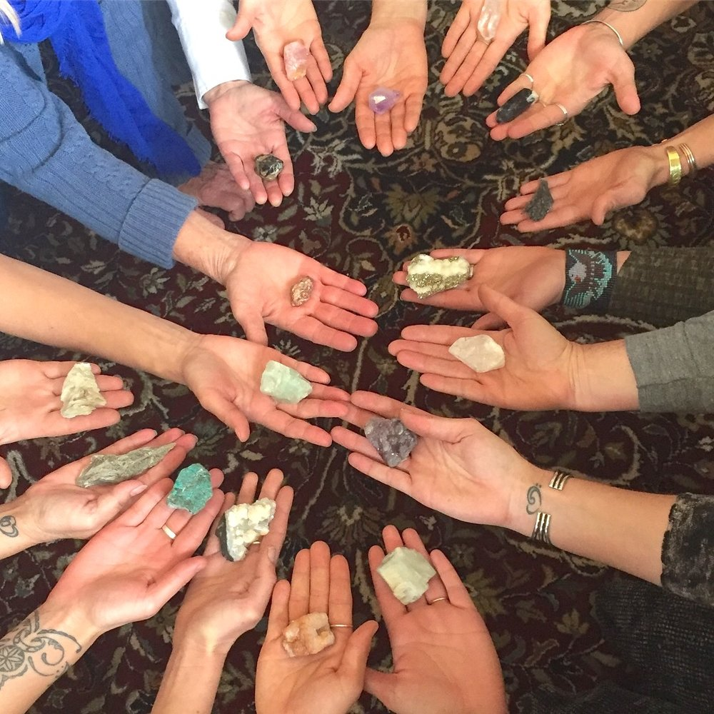 "From a workshop called ""The Altar of Self."" I guided participants in working with gemstones to support energetic shifts and explore personal truths."