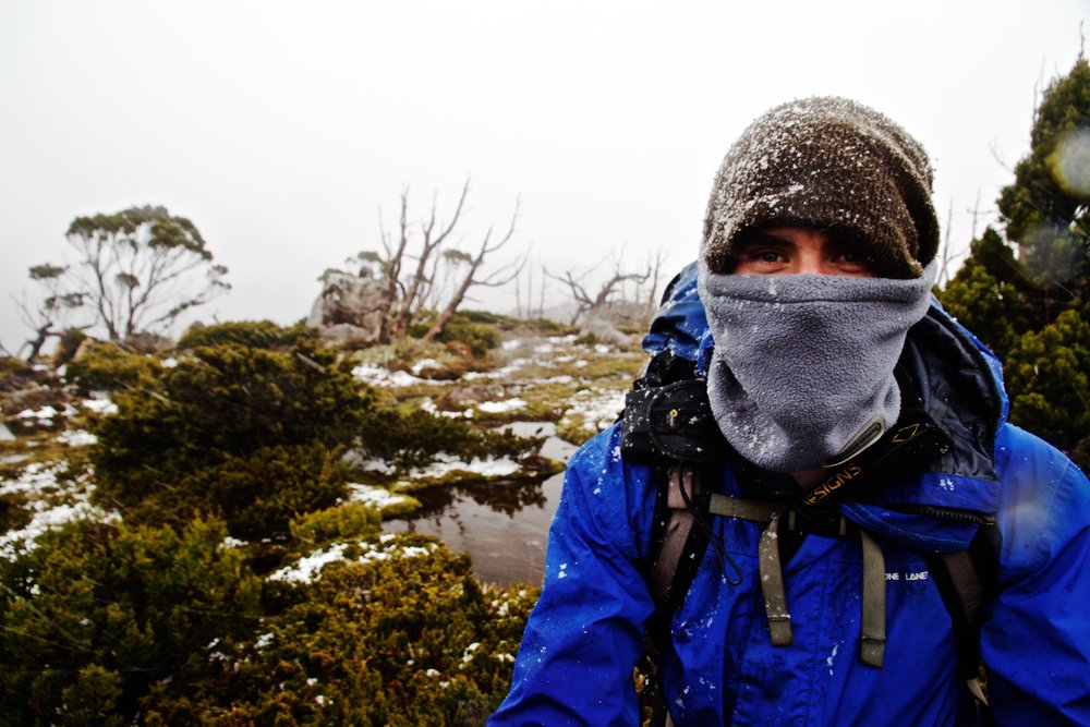 Wild Pedder's guide/owner Lou - Rugged up against the snow!
