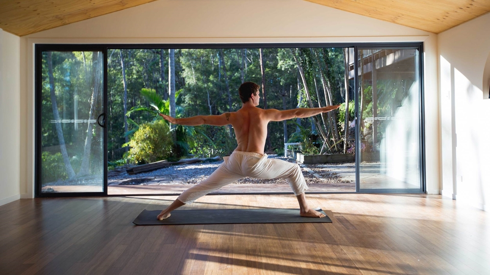 Nick Bradley in his Akhanda Yoga Studio retreat centre in Gold Coast Hinterland
