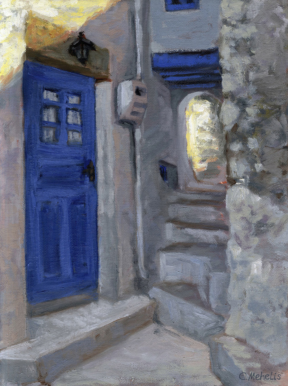 """""""The Blue Door,"""" One of the many mysterious little passages ways winding through the villages of Nisyros Greece. Prints still available of this piece"""