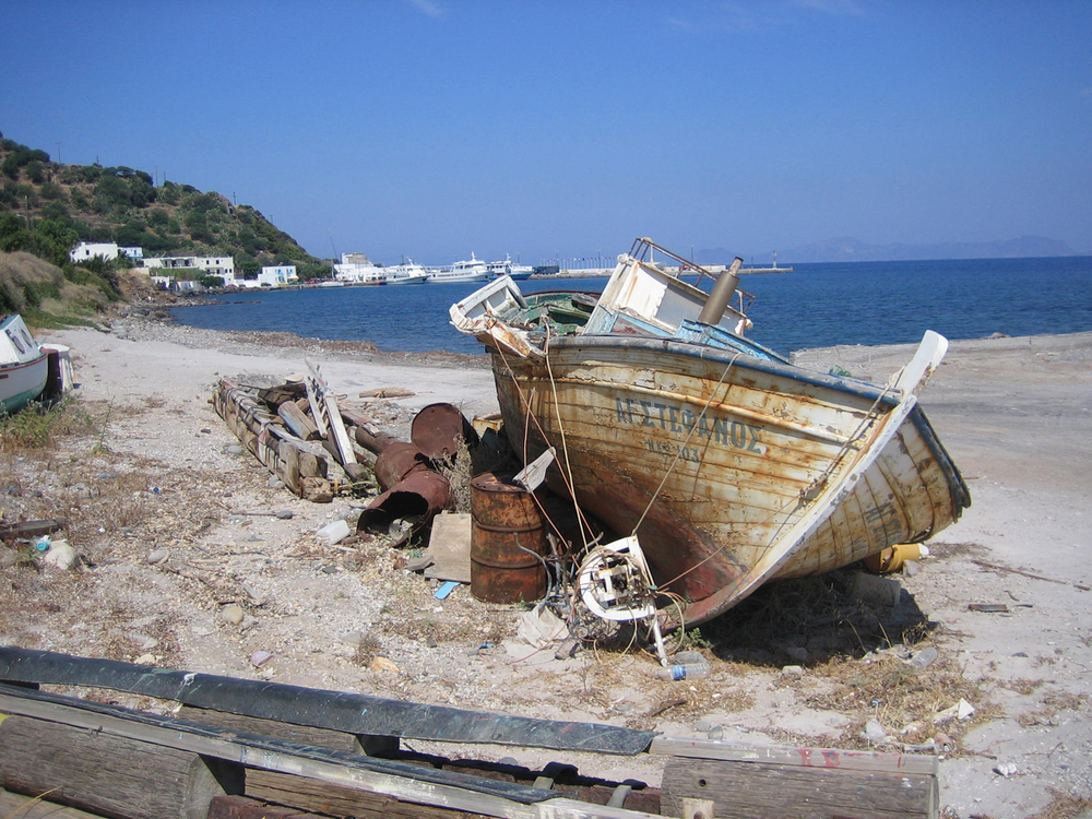 "An abandoned fishing boat which inspired the painting ""shipwrecked,"" still available in print"