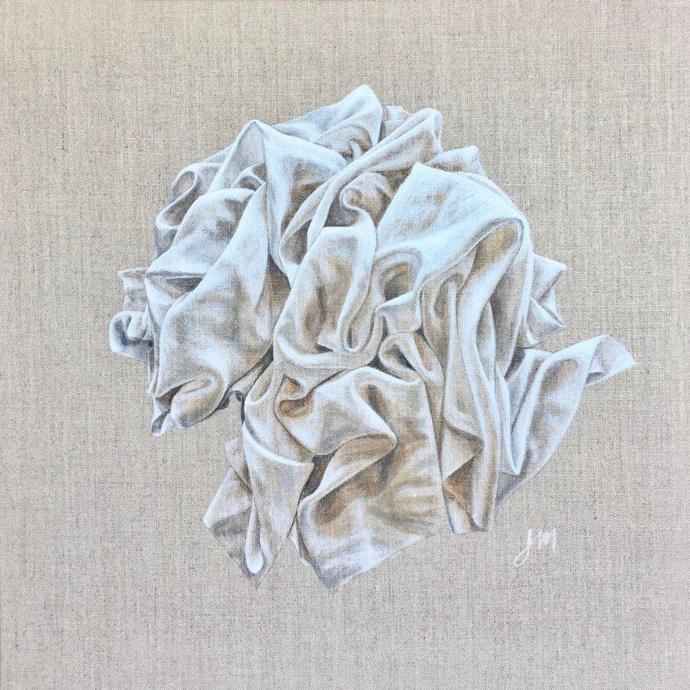 White Rose  Acrylic on Linen Board 40 x 40 cm       $1100.