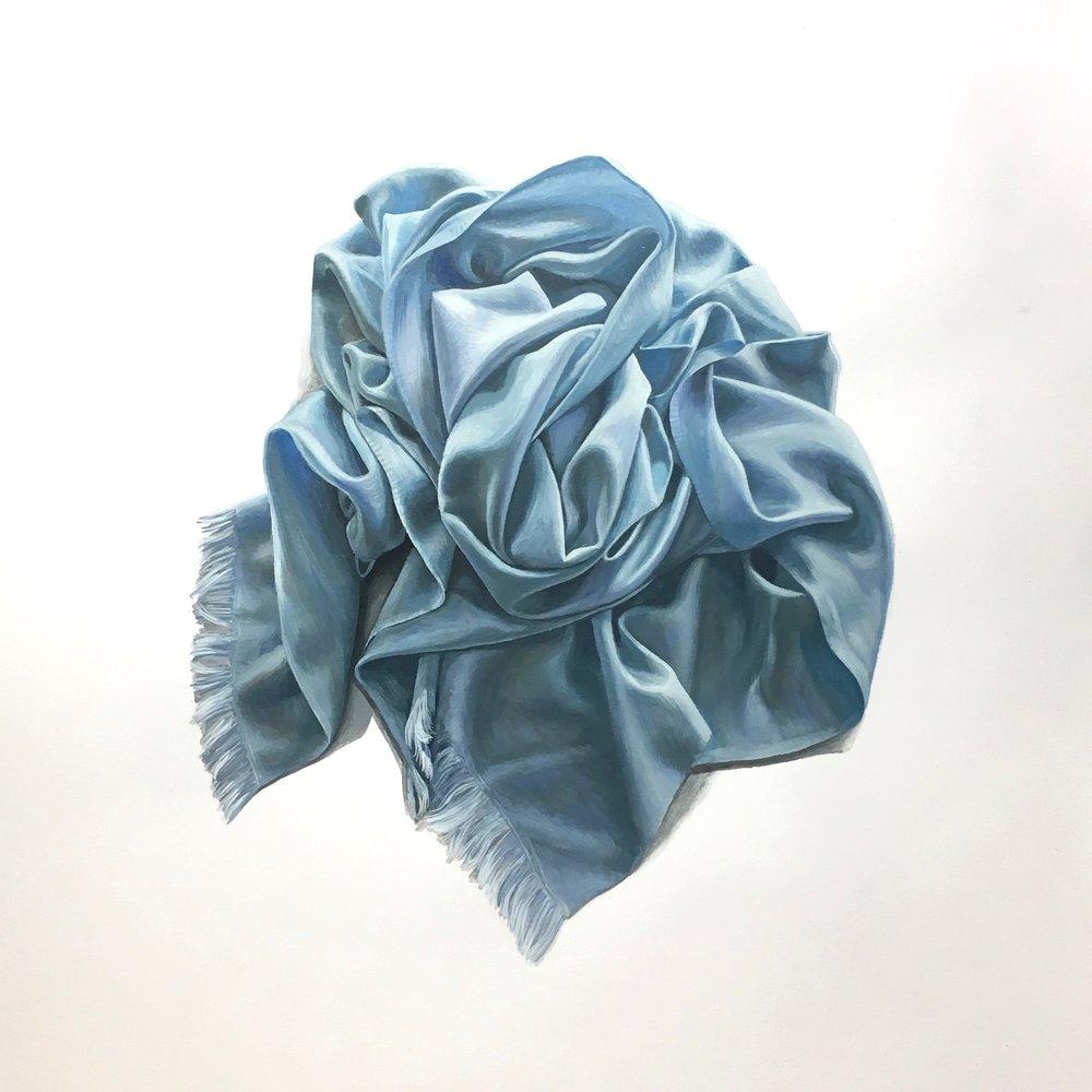 Rosette in Light Blue  Gouache on Paper  14 x 17 inches $850.