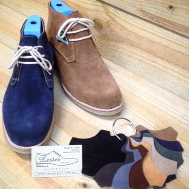 Be winter ready with the new Chukky! Featured here in blue denim and camel suede. Lester shoes offers the extra option to customise with your choice of colour so make it your shoe today! #brandnew #shoes #casual #mens #new #style #shoemaker #handmade #melbourne #australian