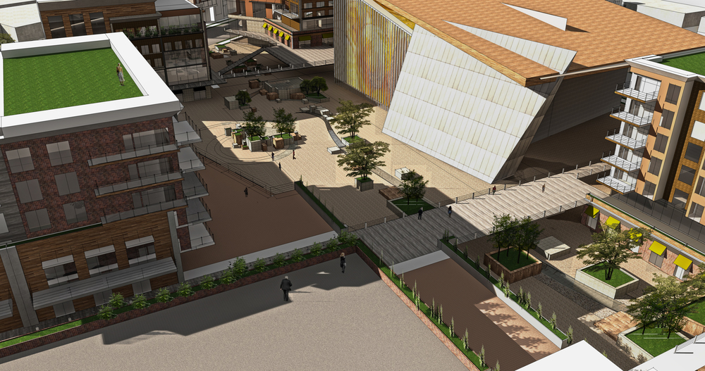 Catalyst project: Performing arts center flanked by pedestrian-oriented plaza space