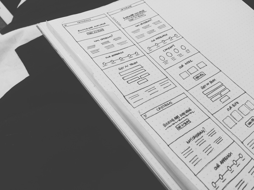 Website wireframes for the newly-designed Crystalnix.com