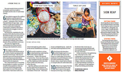 Siem Reap Food Tours in the Sunday Telegraph,  Sunday Herald Sun, Sunday Times, and Courier Mail