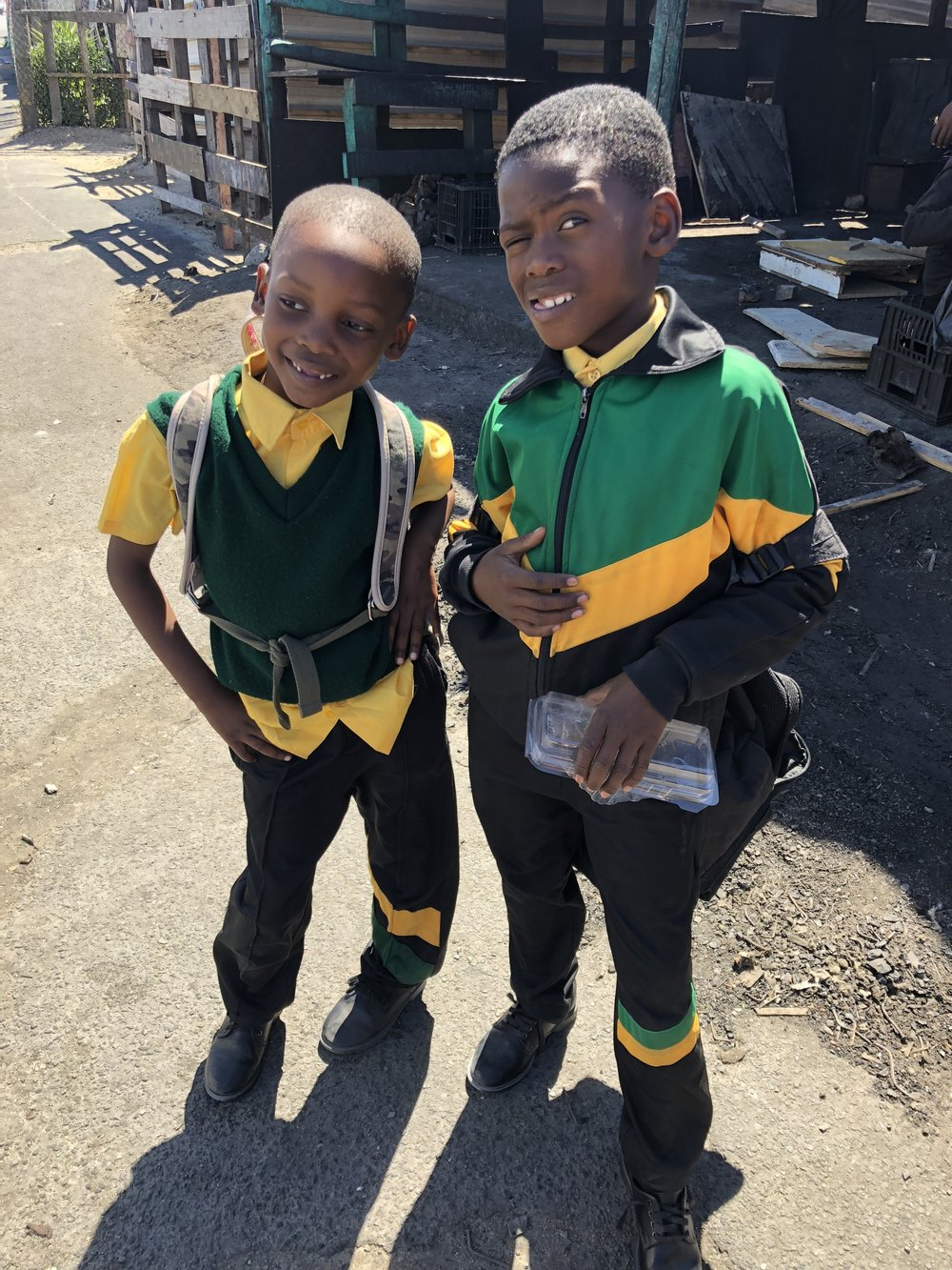 Khayelitsha township boys on their way home from school.