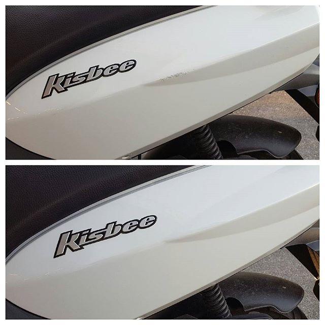 Bilde før og etter, skade på Peugeot scooter!