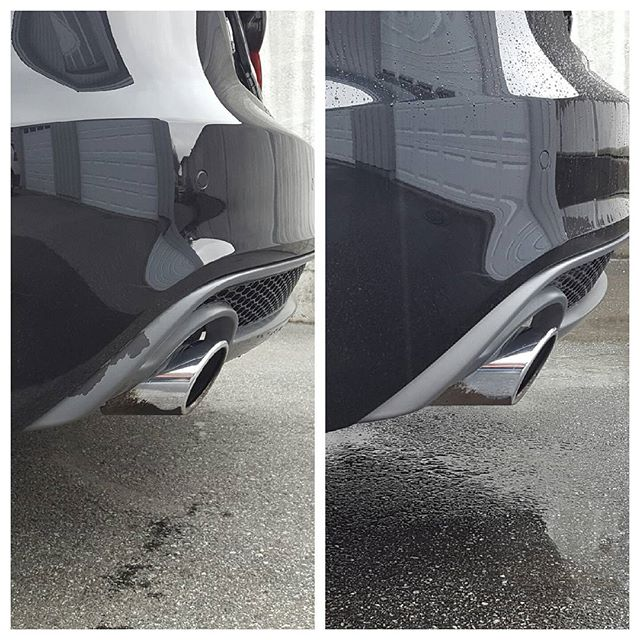 Skade på Audi A5, bilde før og etter.