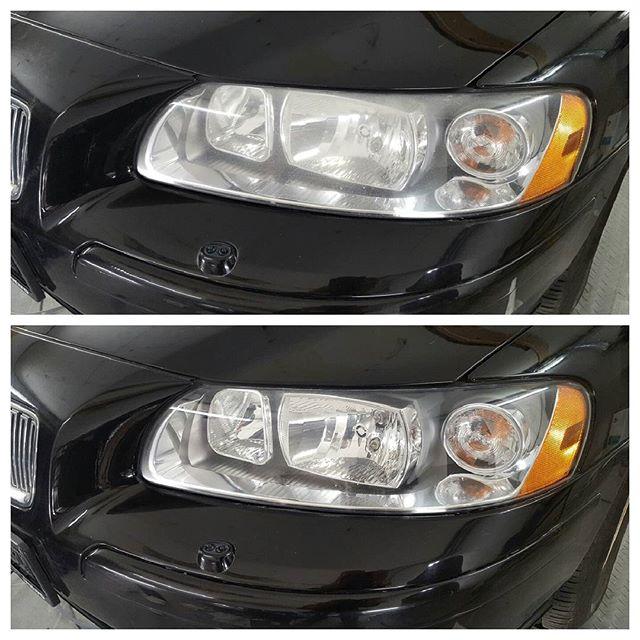 Bilde før og etter. Fornyet frontlykter på Volvo V70.