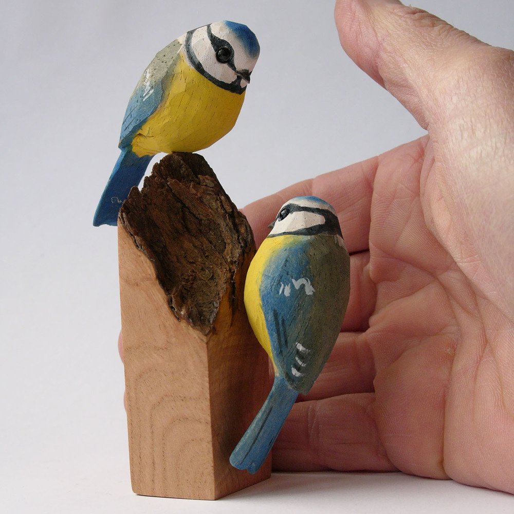 Blue Tits wooden painted birds on burr elm 6x4.2x11.5cm £198.00