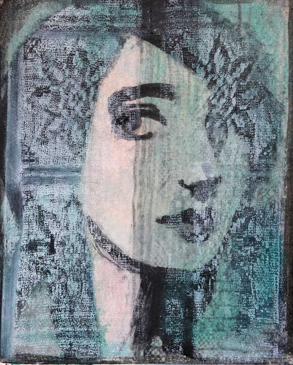 Window £325 Woodcut, monotype 10 x 8 ins (25.40 x 20.32 cms)