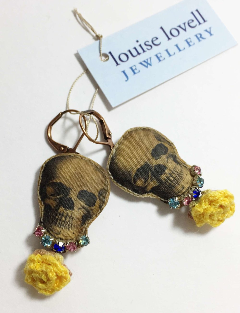 Skull and Flowers Earrings