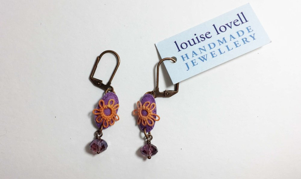 Purple Ovals Earrings