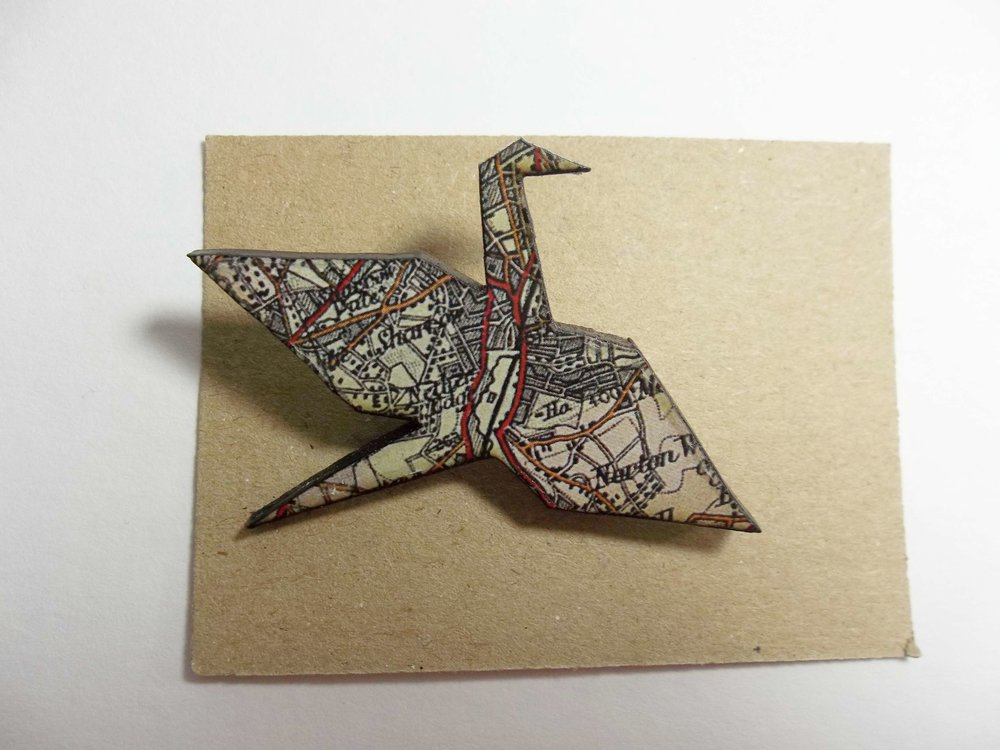 Bird Brooch with Map Details
