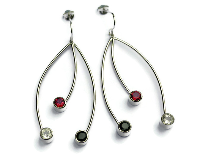 3 strand 6cms drop earrings  pink & white topaz, black spinel  £200