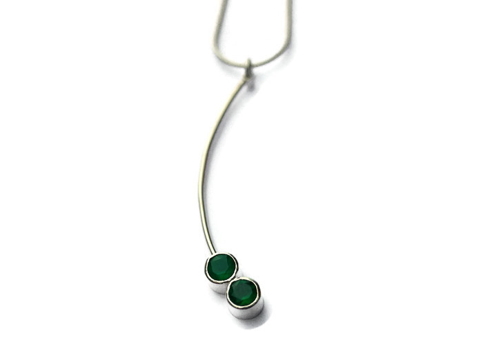double stone stick 4cms  green onyx dangly earrings  £130