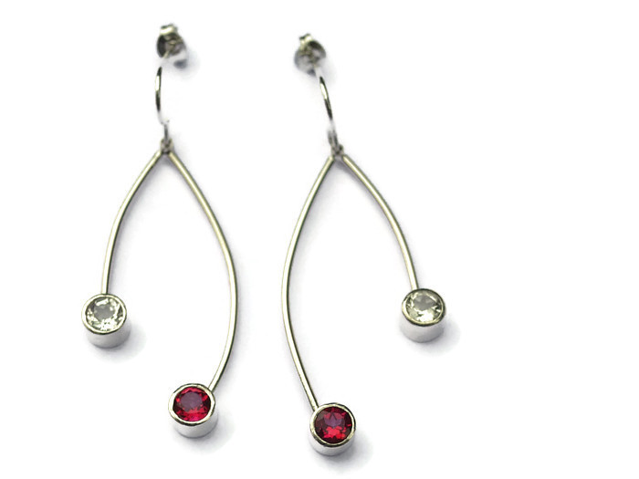 2 strand drop earrings  pink & white topaz - 3.5cms  £158