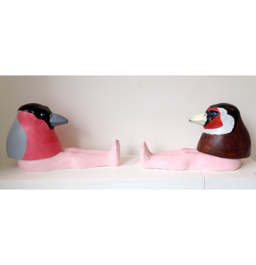 Finches - Pair  Jesmonite sculpture  1m x 31h x 28d  £1350.00