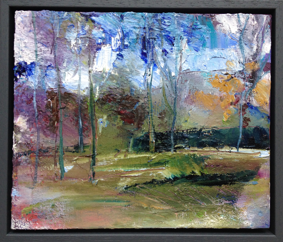 Study, Hillsborough Park, Sheffield  Oil & mixed media on canvas  10 x 12 inches  £200 - SOLD