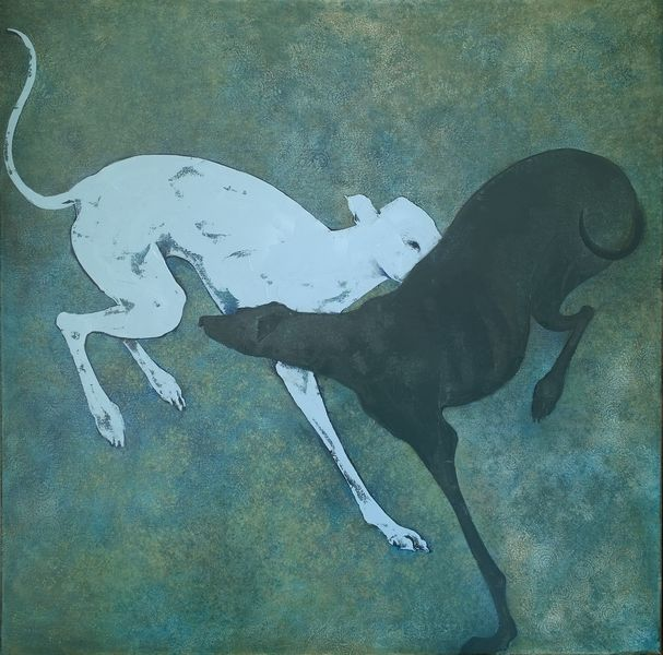 Two whippets  oil on board 80 x 80 cm  £1100