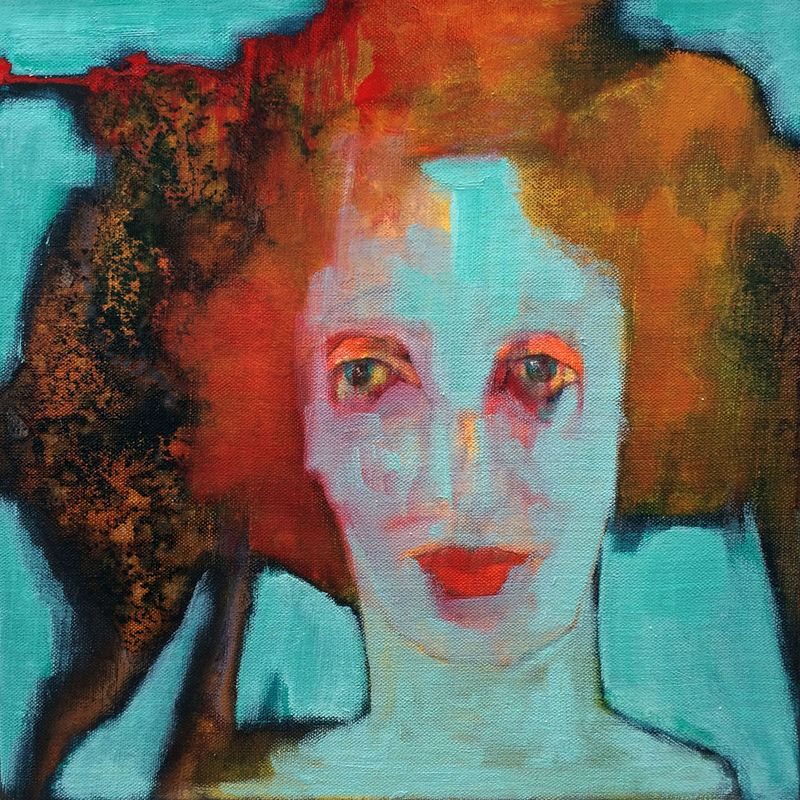 Rubinette  Mixed media on canvas board  38 x 38 cm  £750