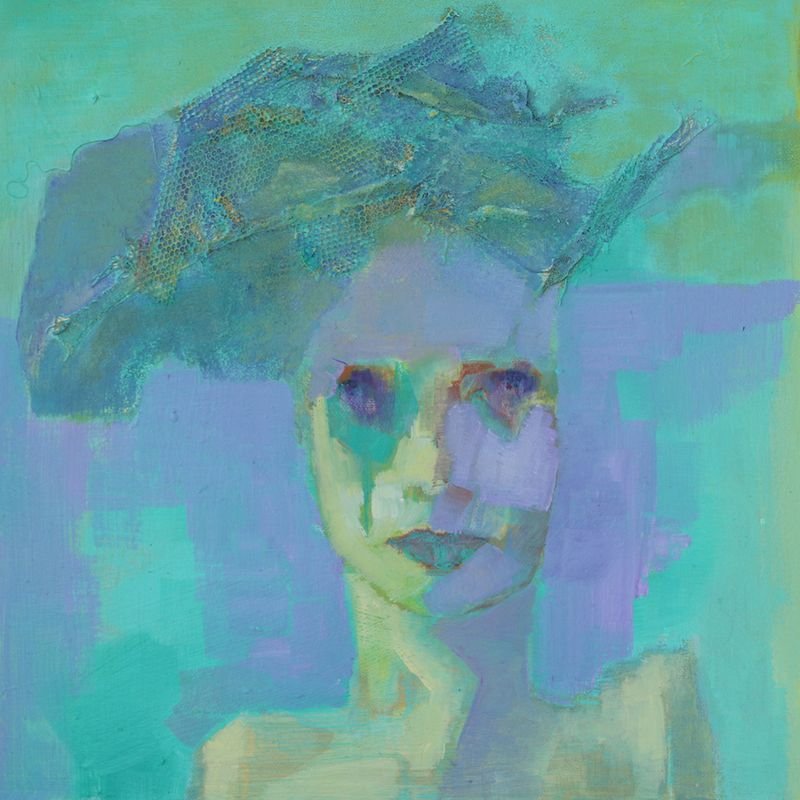 Lady in Lavender  Mixed media on canvas board  38 x 38 cm  £750