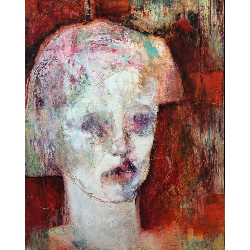 I Have Never Seen a Face as White as Hers Was  Mixed media on board  47 x 35 cm  £900