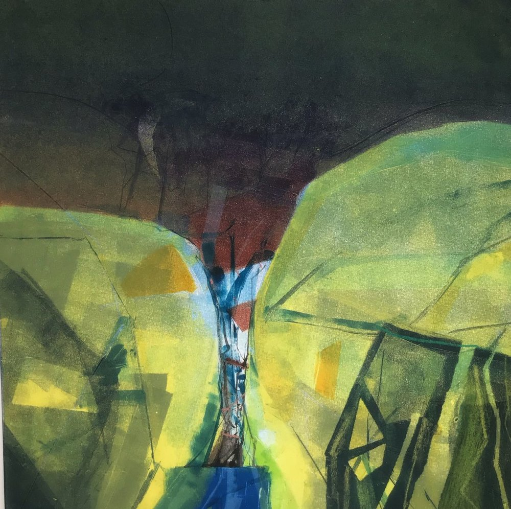 Steep Valley, Falling Water  monotype  50 x 60 cm  £395