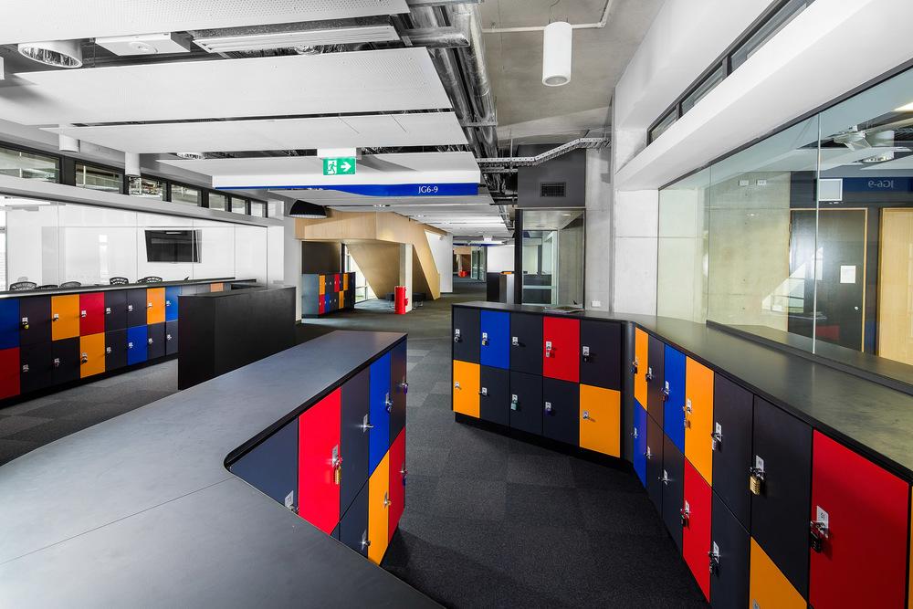 Modern school locker space by Melbourne architecture photographer Stefan Postles