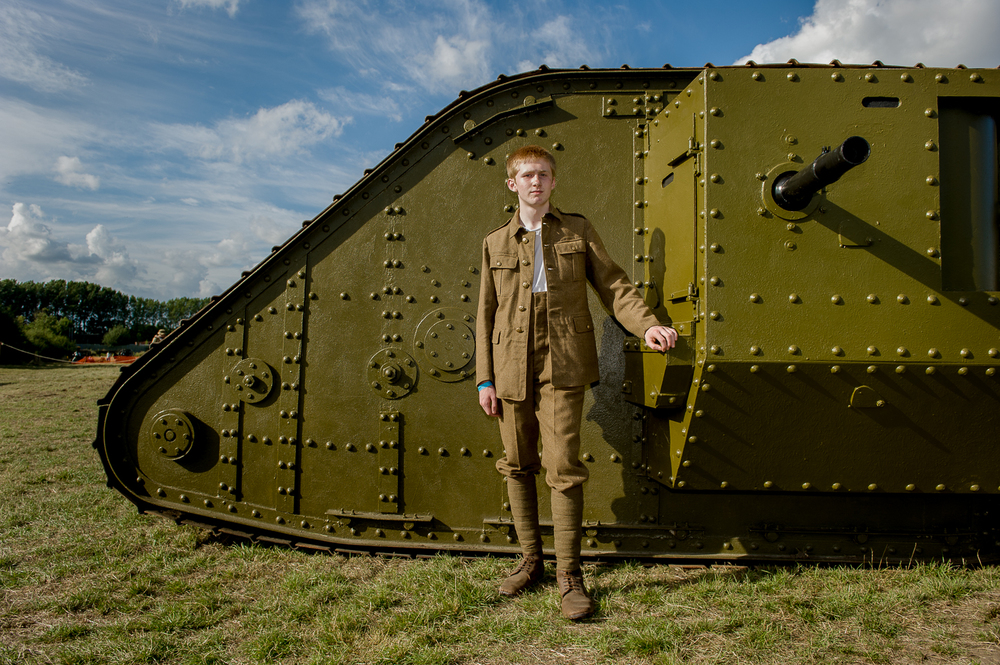 Re-enactor near replica of WW1 Mark 1 tank