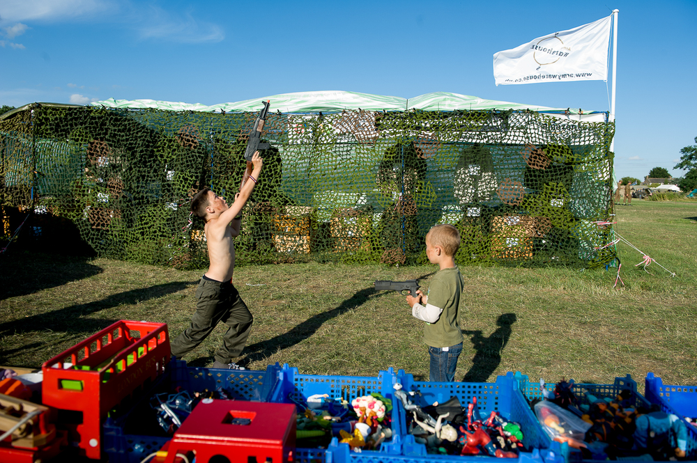 Boys playing, War and peace show, Kent