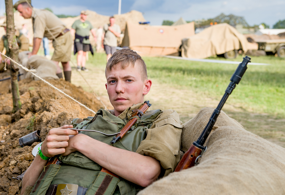 Re-enactor resting, War and Peace show, Kent