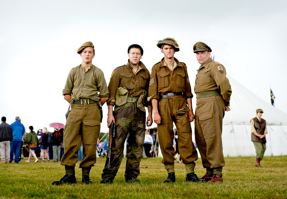 Re-enactors of British troops, event in Essex