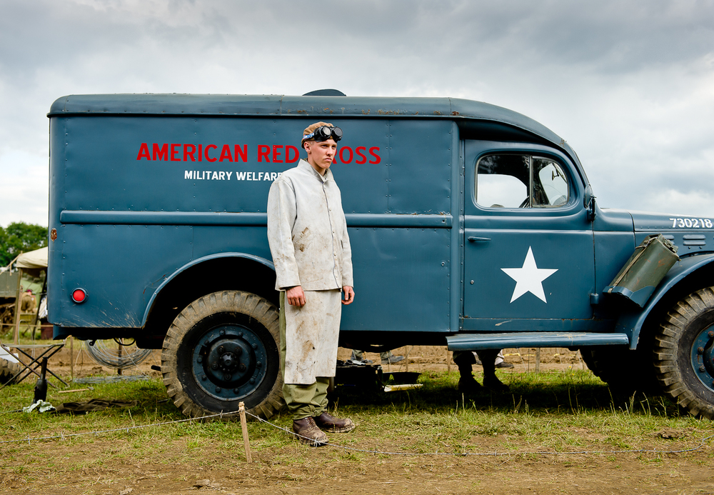 Army car mechanic re-enactor, War and Peace show, kent