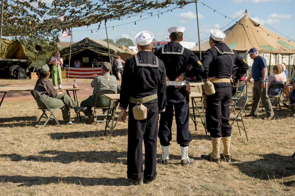 American navy re-enactors listening to singer at the War and peace show, kent
