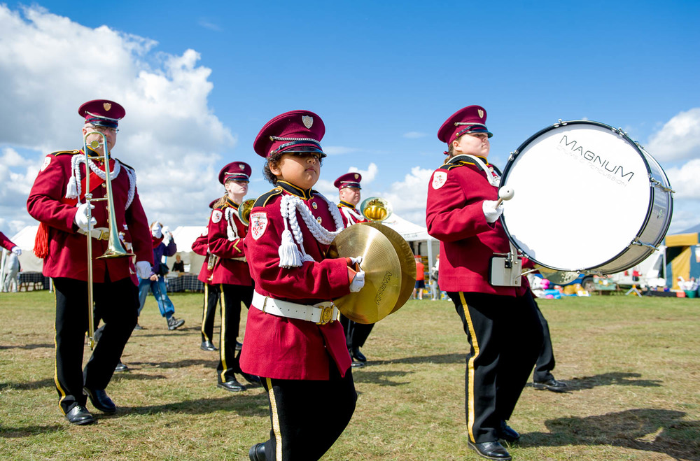 Marching band, re-enactment event, Essex