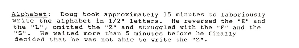 Excerpt from actual test: