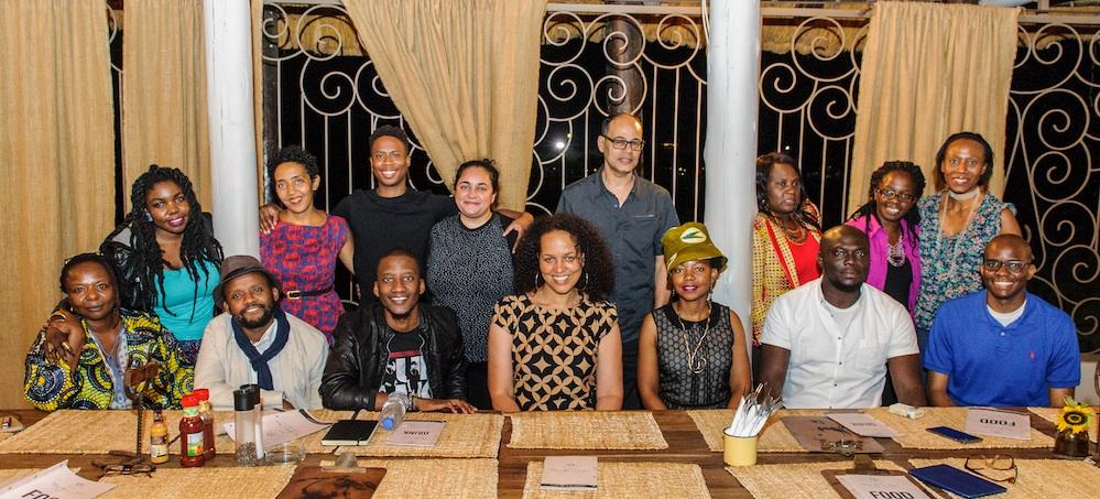 Top row: Okwiri Oduor (Kenya),Namwali Serpell (Zambia),Masande Ntshanga (South Africa),FT Kola (South Africa),Jamal Mahjoub (Facilitator), Kafula Mwila (Zambia), Timwa Lipenga (Malawi), Chilufya Chilangwa (Zambia)  Bottom row:Ellah Wakatama Allfrey (Facilitator),Billy Kahora (Kenya),Bwanga Kapumpa (Zambia), Vimbai Shire (Coordinator),NoViolet Bulawayo (Zimbabwe),Elnathan John (Nigeria),Tope Folarin (Nigeria)