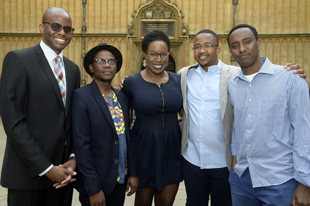 L-R: Tope Folarin (Nigeria),Lidudumalingani (South Africa), Lesley Nneka Arimah (Nigeria), Bongani Kona (South Africa), Abdul Adan (Somalia/Kenya)