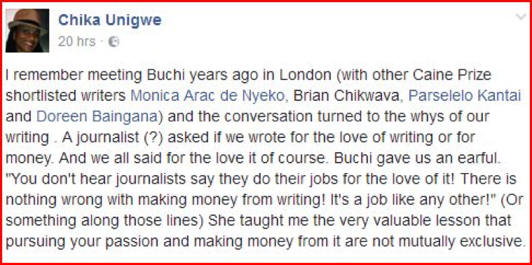 Shortlisted for the Caine Prize in 2004, Chika reflects on advice Buchi Emecheta gave to young writers.