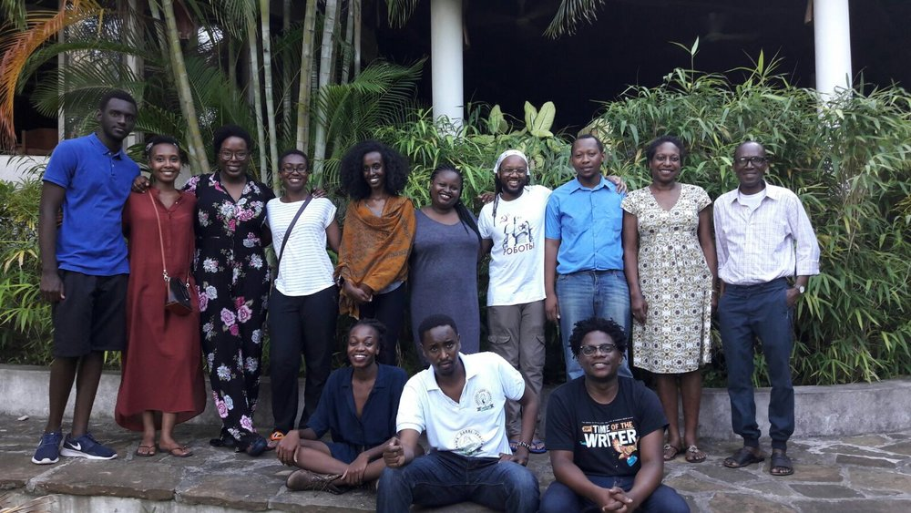 Top row: Daniel Rafiki (Rwanda), Darla Rudakubana (Rwanda), Lesley Nneka Arimah (Nigeria), Cheryl Ntumy (Botswana/Ghana), Agazit Abate (Ethiopia), Esther Karin Mngodo (Tanzania), Tendai Huchu (Zimbabwe), Zaka Riwa (Tanzania), Elise Dillsworth (workshop facilitator) and Mohammed Naseehu Ali (workshop facilitator) Bottom row: Lydia Kasese (Tanzania), Abdul Adan (Somalia/Kenya) and Lidudumalingani (South Africa)