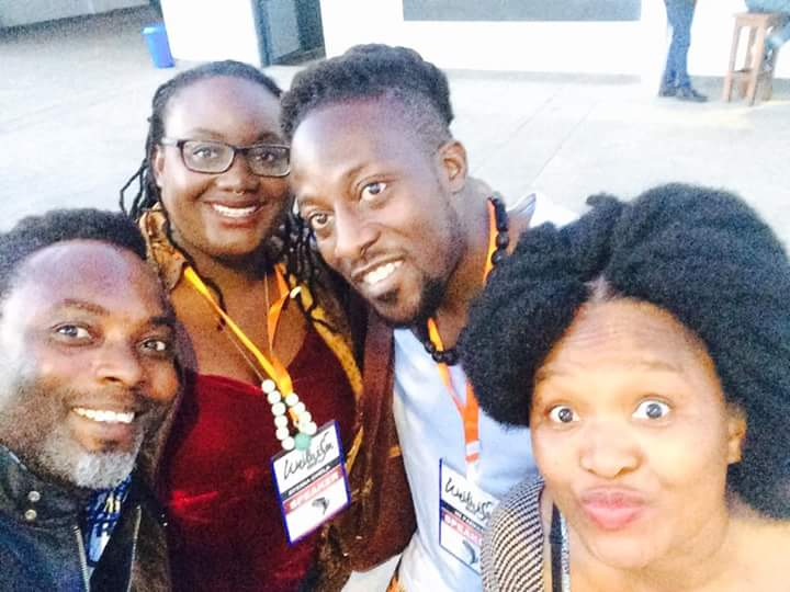 Efemia at Writivism 2017 with A. Igoni Barrett, Nii Ayi-Kwei Parkes, and Gaamangwe Joy Mogami. (2017)