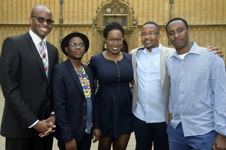 L-R: Tope Folarin (Nigeria), Lidudumalingani (South Africa), Lesley Nneka Arimah (Nigeria), Bongani Kona (Zimbabwe) and Abdul Adan (Somalia/Kenya)