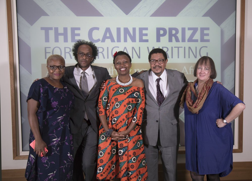 Captured: 2018 Caine Prize Judges and Winner. From L-R: Lola Shoneyin, Dinaw Mengestu, Makena Onjerika, Ahmed Rajab and Henrietta Rose-Innes