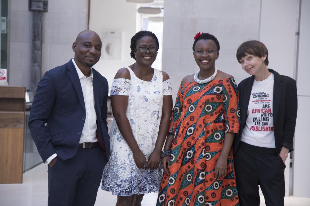 2018 Caine Prize Shortlist (excluding Nonyelum Ekwempu). From L-R: Wole Talabi, Olufunke Ogundimu, Makena Onjerika and Stacy Hardy.