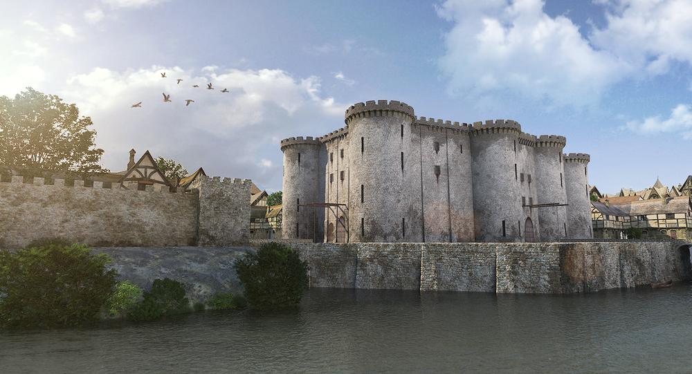 La Bastille, en 1416. Un fossé alimenté par les eaux de la Seine longeait alors l'enceinte Charles V, à cet endroit.