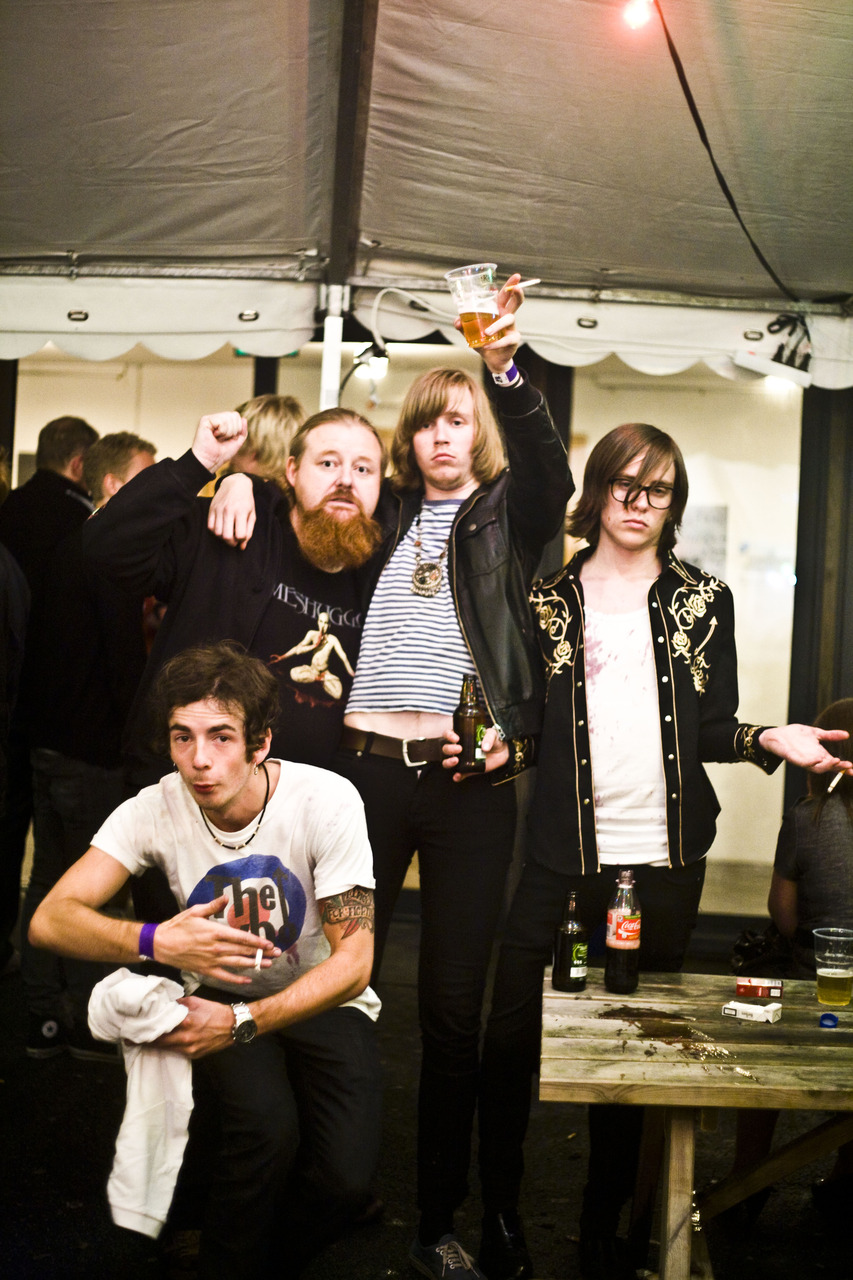 snap shot  Death by Unga Bunga Late backstage with fan.   Check out their music at   http://www.myspace.com/ungabungadeath