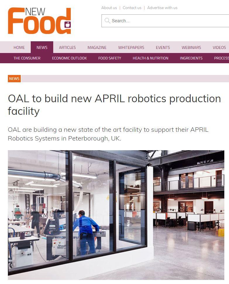 New Food - OAL to Build New APRIL Robotics Production Factory